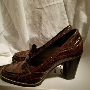 Franco Sarto Brown Croc Print Loafer Pumps
